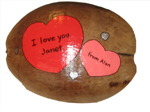 Valentines Gift Hand Painted Coconut
