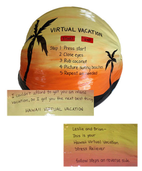 Virtual Vacation Gift Hand Painted Coconut