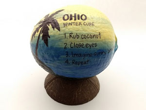 The cure for winter painted coconut gag gift