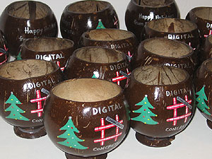 Chistmas Party Drinking Painted Coconut cup ad specialty