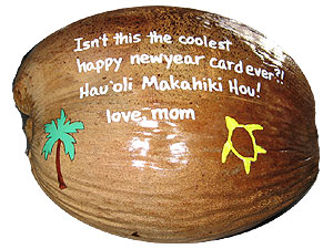 Happy New Year Painted Coconut