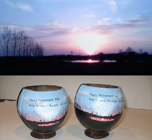 Hand Painted Retirement Coconut Cup
