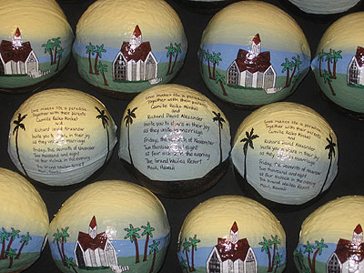 Hand painted art on hollow coconuts