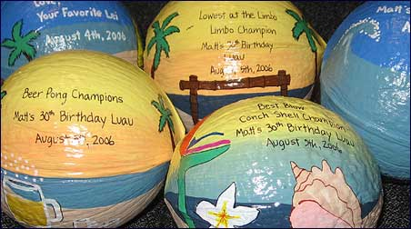 Personalized painted coconut for luau party gifts and invitations