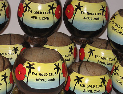 hand painted coconut cup sales achievement incentive award