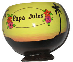 Painted Coconut Drink Cups for Luau Party favors