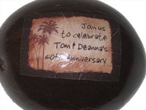 Decal Service on Coconut Half Shell - Product Image